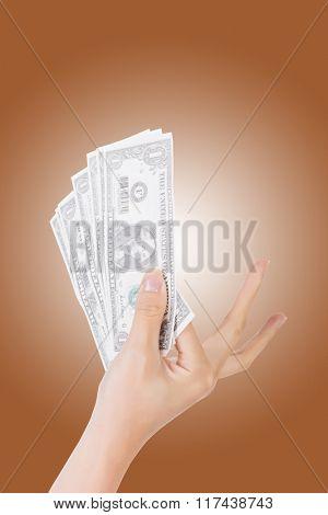 woman hand holding one dollar bill