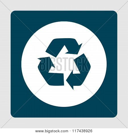 Recycle Icon, On White Circle Background Surrounded By Blue