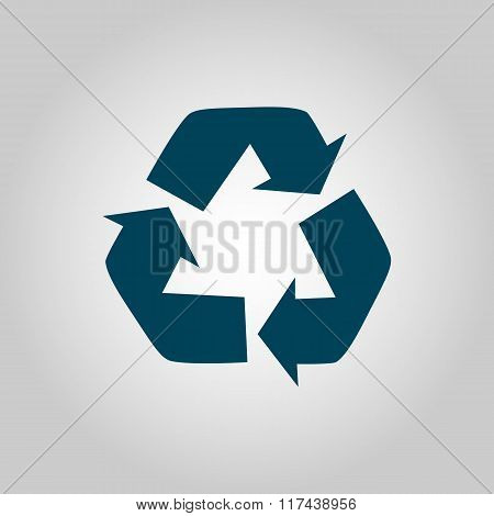 Recycle Icon, On Grey Background, Blue Outline, Large Size Symbol