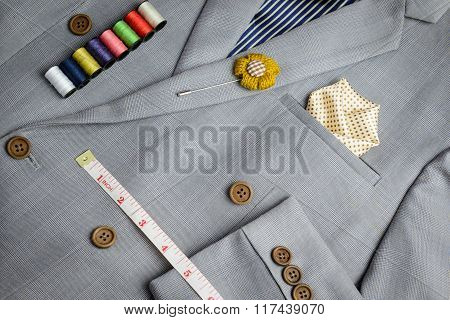 Double Breasted Button Suit, Grey Plaid Texture