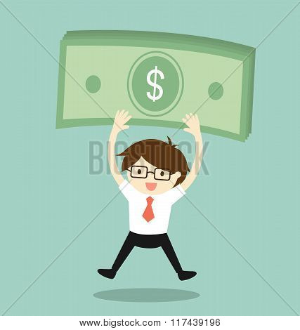 Business concept, Businessman is holding money and feeling happy. Vector illustration.