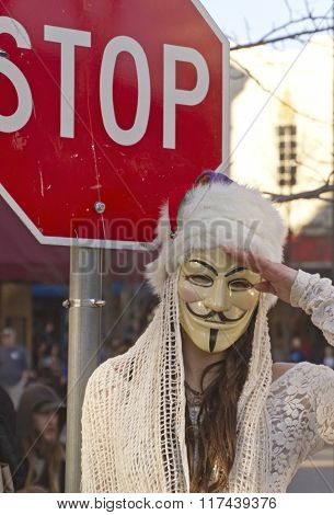 Guy Fawkes Mask, Stop Sign And Salute