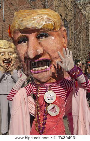 Trump And Clinton Colorful Mardi Gras Costumes