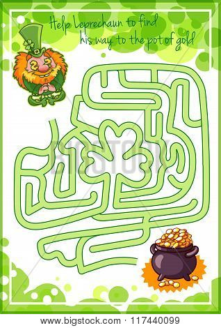 Maze Game For Kids With Gnome And Pot Of Gold.