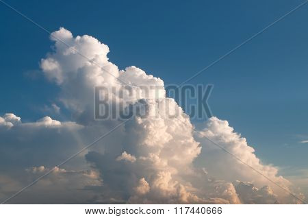Huge Cloud Cluster In Sunset Light