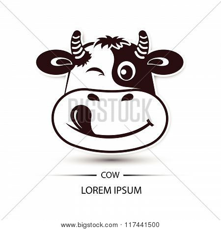 Cow Face Happy Logo And White Background Vector Illustration