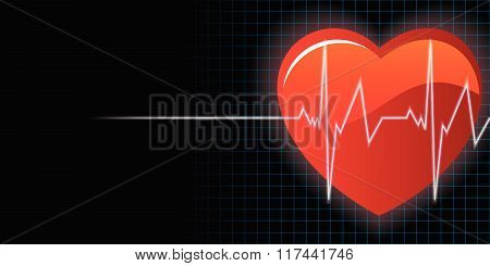 Heart And Heartbeat Background Vector