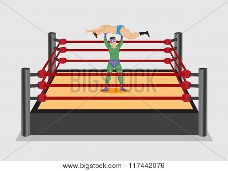 Wrestler Lifts Up Opponent In Wrestling Ring Vector Cartoon Illustration