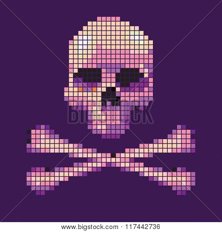 Skull and crossbones collected from pixels on.