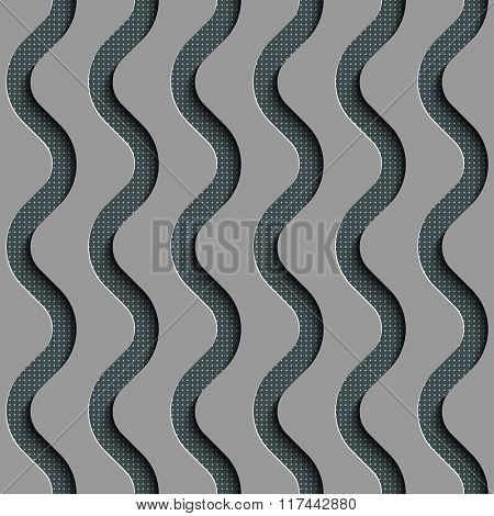 Seamless Wave Pattern. Curved Shapes Background. Regular Gray Texture