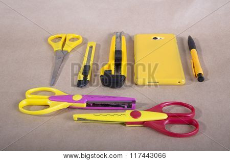 yellow items for scrapbooking