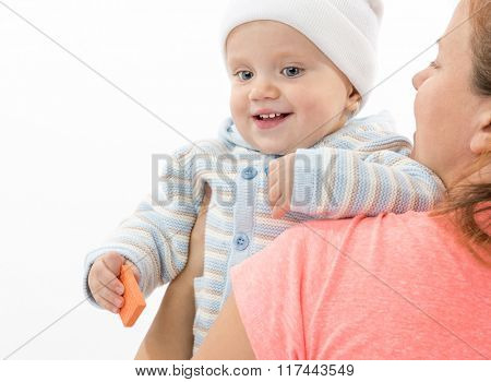 little child baby smiling  portrait caucasian warm clothing hat isolated on white background studio shot