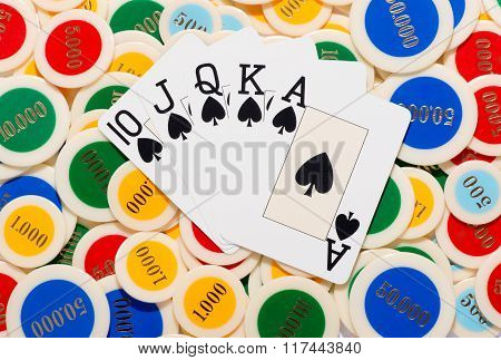 Poker Hand With A Straight Flush In Spades