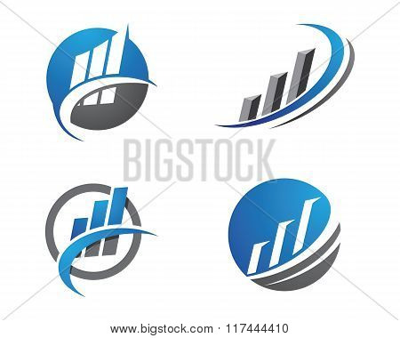Logo design with commercial building and chart bars