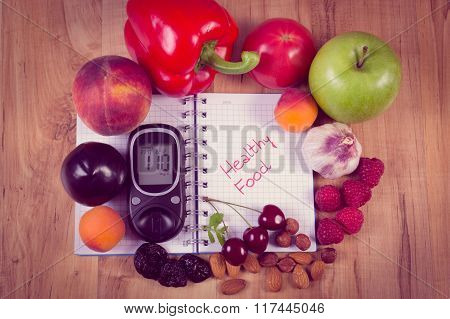 Vintage Photo, Fruits And Vegetables With Glucometer And Notebook For Notes, Healthy Food, Diabetes