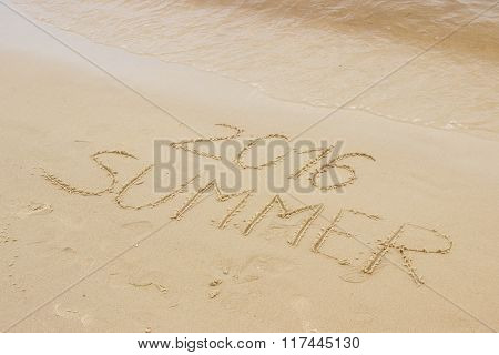 Summer 2016 Drawn On Sand At The Beach By The Sea