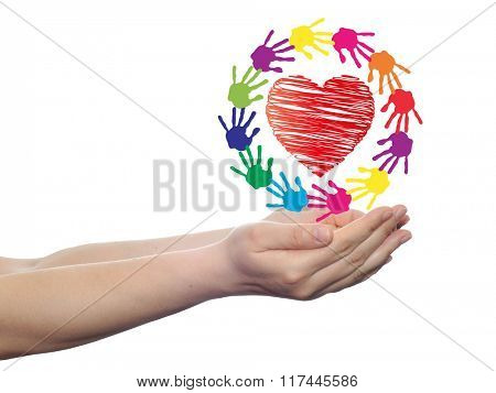 concept or conceptual red heart symbol with child human hand prints spiral or circle isolated on white background