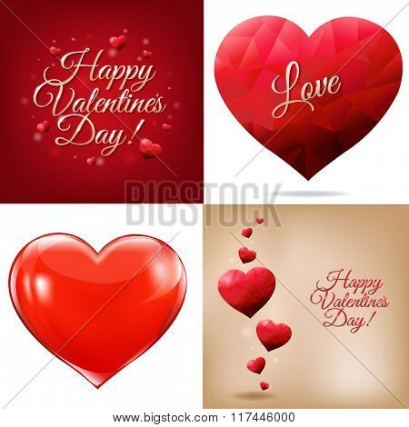 Happy Valentines Day Cards With Gradient Mesh, Vector Illustration