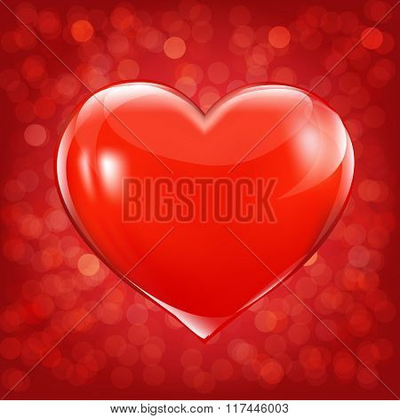 Valentines Day Card With Heart With Gradient Mesh, Vector Illustration