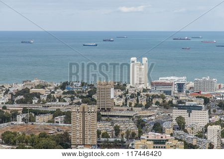 Haifa, Israel - January 2, 2016 :  View of Haifa bay and the Bahai Gardens