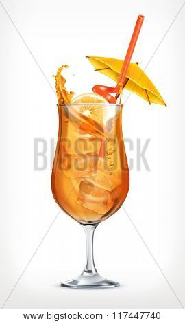 Summer cocktail, vector icon