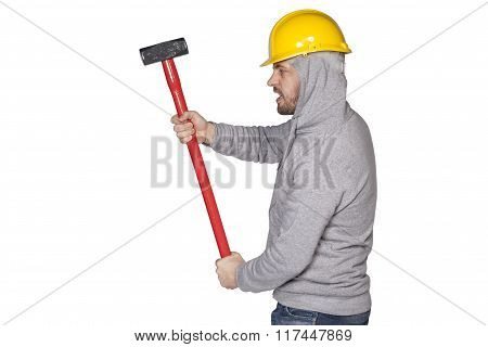 Builder On A White Background, The Keeper Hammer