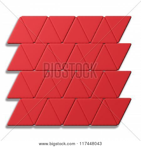 Lines Of Red Triangles On White Background