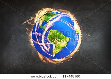 Burning Earth as a symbol of apocalypse