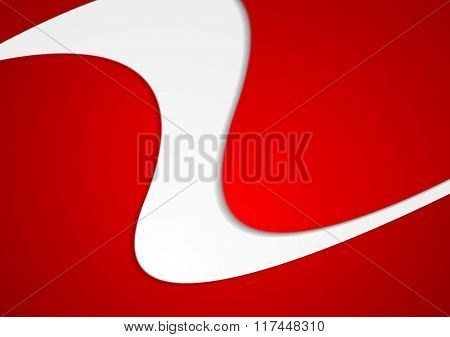 Abstract red wavy brochure corporate design. Vector graphic template background