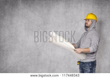Construction Worker And Copy Space