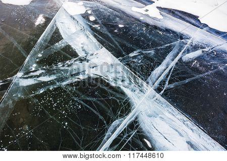Natural Ice On The Frozen Lake.