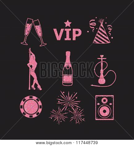A Collection Of Sparkling Pink Glitter Stylized Fancy Night Club And Party Icons For Flier, Banner,