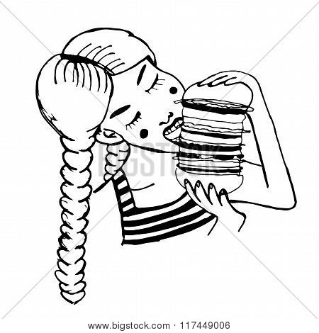 pretty girl with two plaits and vest eating huge hamburger comic cartoon vector illustration