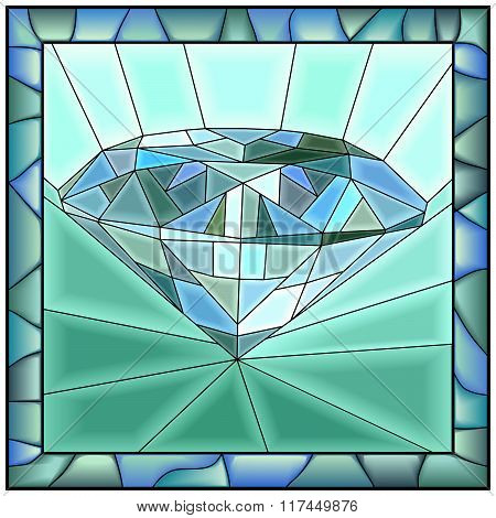 Mosaic Vector Illustration Of Diamond.
