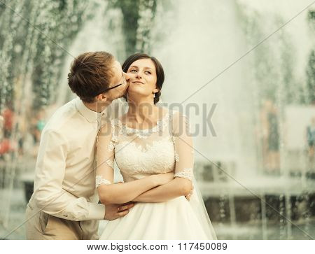 stylish luxury  bride and elegant groom