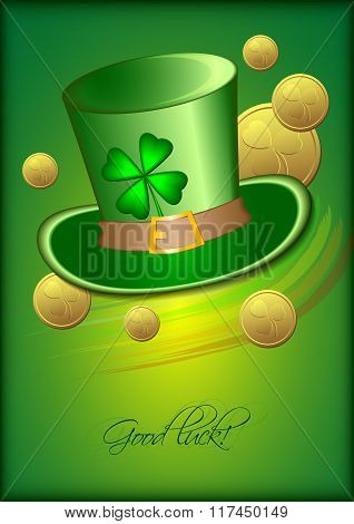 Holiday Card With Green Hat And Clover On Green Background For St. Patrick's Day. March 17