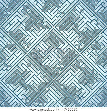 Seamless pattern - blue maze