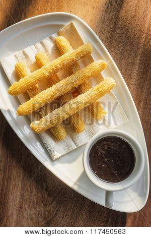 Churros Con Chocolate Spanish Sweet Snack