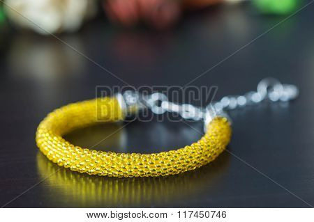 Crochet Beaded Bracelet From Beads Of Yellow Color