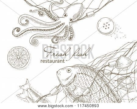 Seafood and fish net