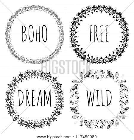 Set of Boho Style Frames and hand drawn elements. Set of Ornamental Boho Style Elements. Vector illu