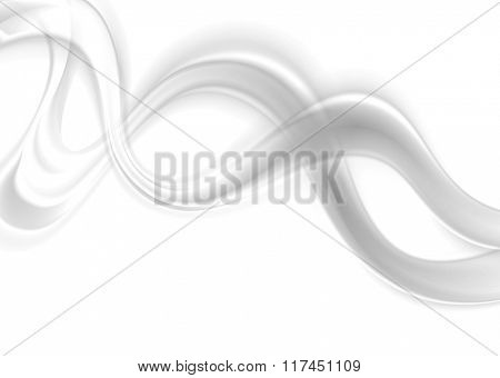 Abstract smooth blurred grey waves on white background. Vector illustration