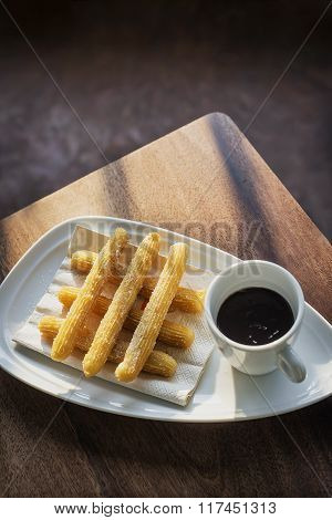 Chocolate And Churros Traditional Spanish Breakfast Snack Food