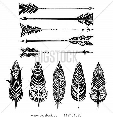 Set of Arrows and feathers on white background. Set of Ornamental Boho Style elements. Vector illust