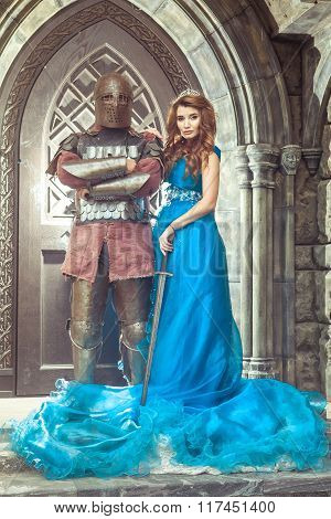 Medieval Knight With His Beloved Lady.