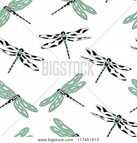 Seamless pattern with flying dragonflies