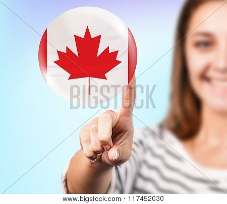 Woman point on the bubble with canadian flag