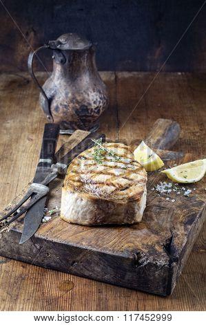 Barbecue Swardfish Steak on Cutting Board