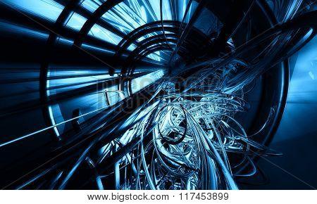 3D blue, futuristic background