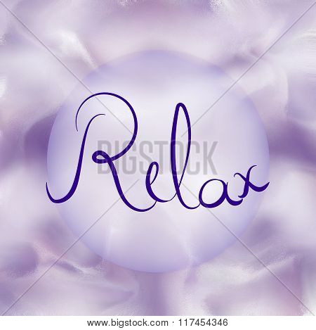 Relax word on purple background